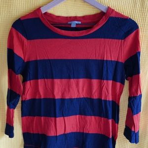 COS Navy & Red 3/4 sleeve top